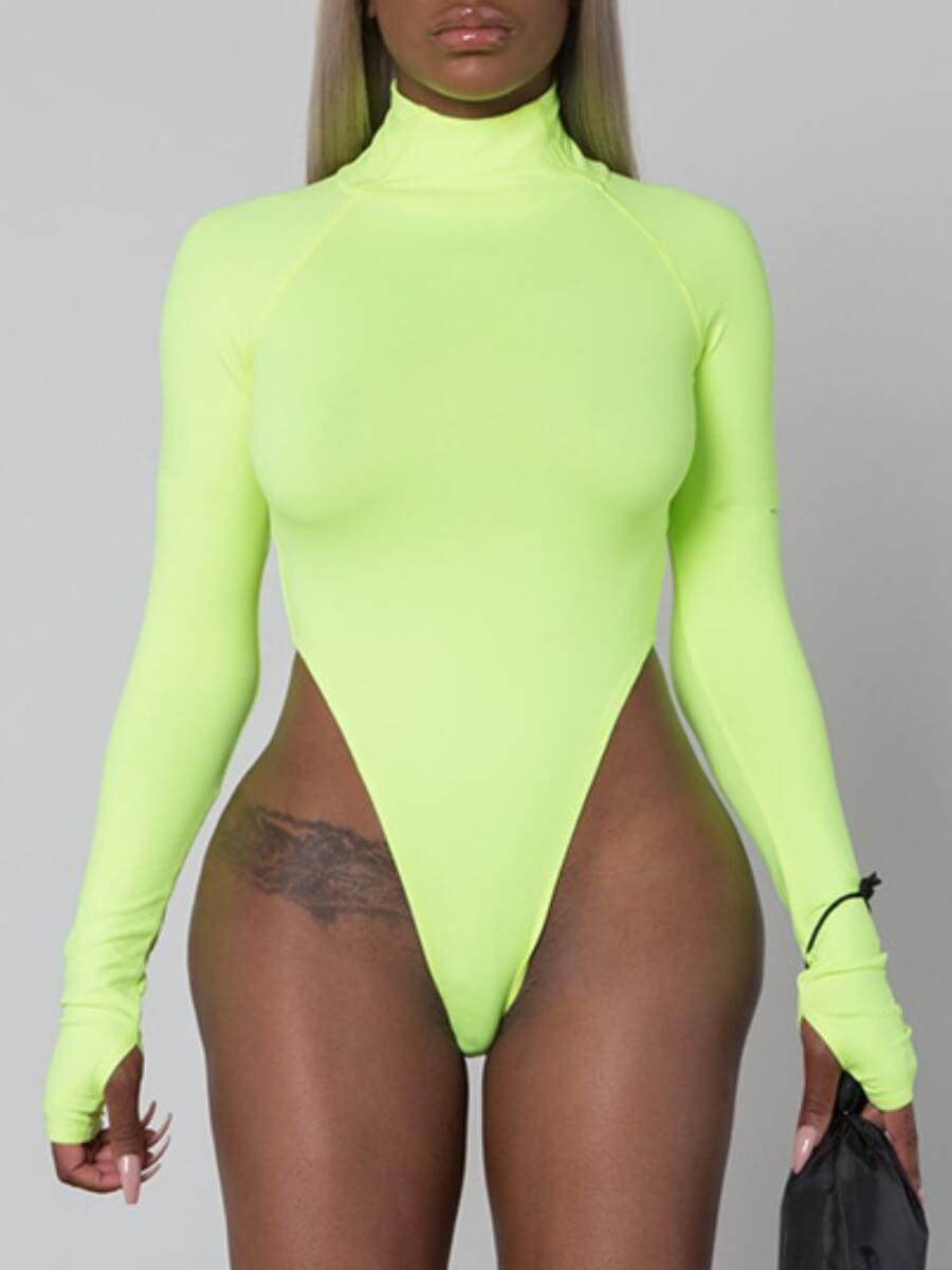 Bodysuits lovely Sexy Basic Skinny Light Green Bodysuit фото