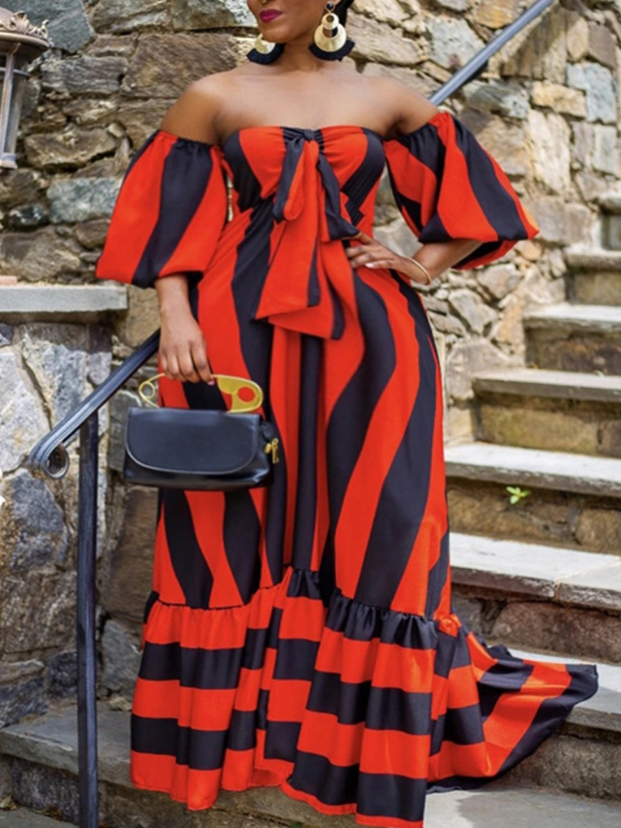 Lovely Bohemian Dew Shoulder Striped Red Maxi Plus Size Dress фото