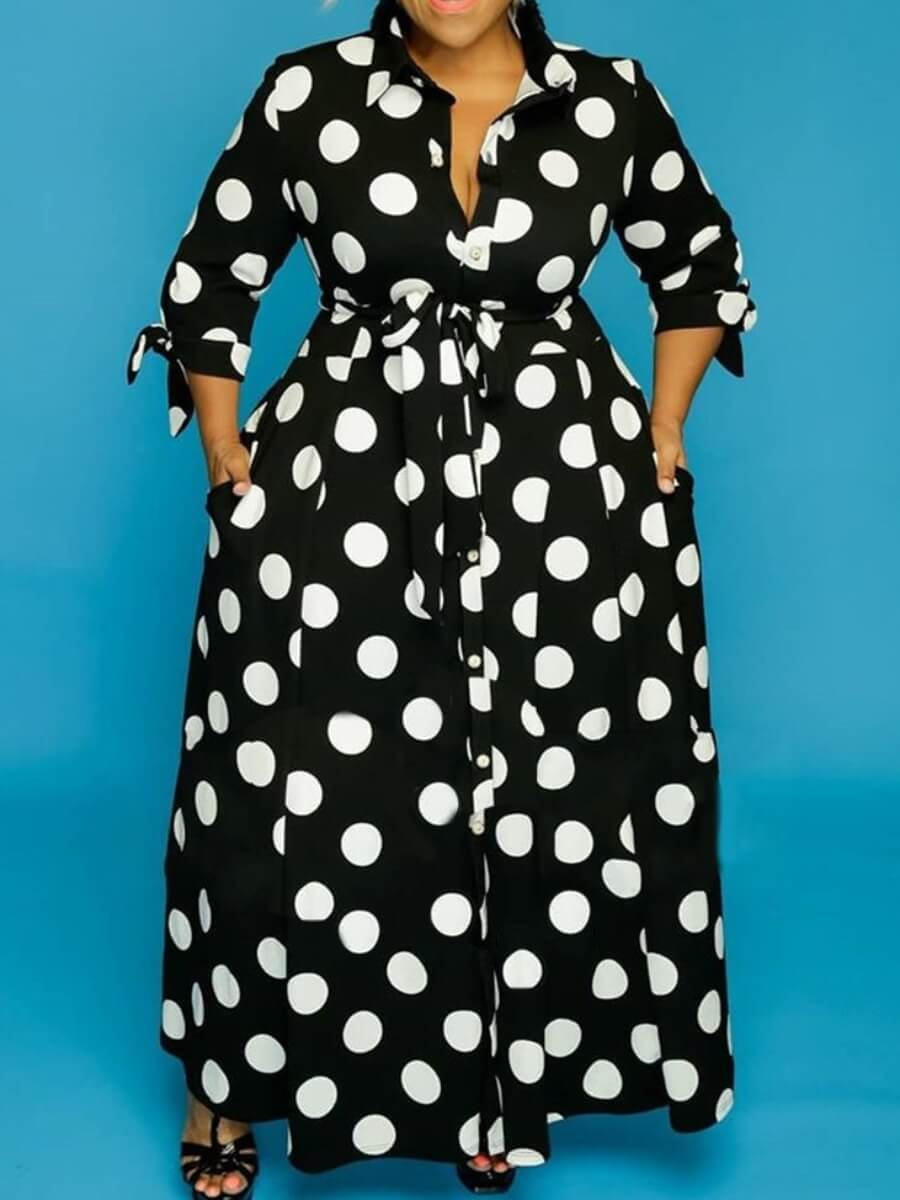 LW Plus Size Trendy Dot Print Black Maxi Dress