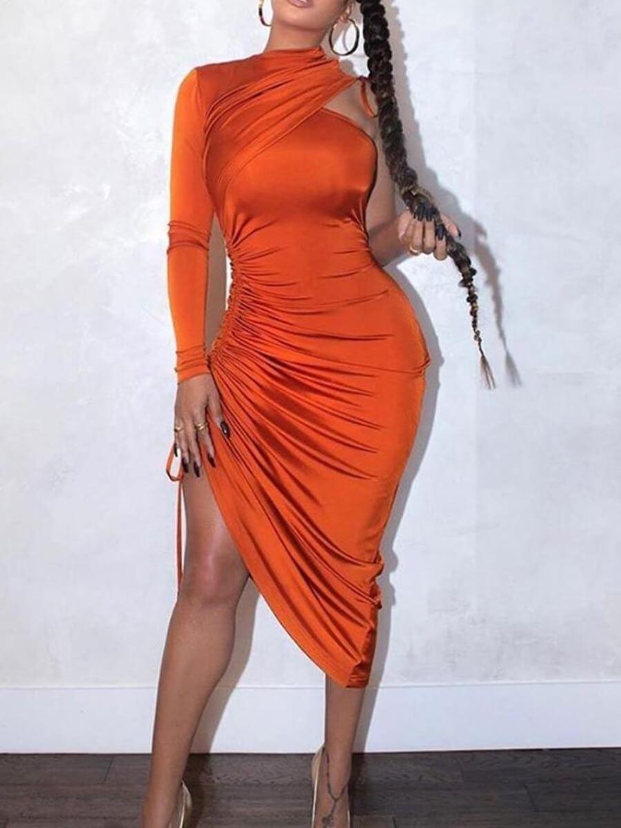 Prom Dress lovely Sexy One Shoulder Fold Design Orange Mid Calf Dress фото