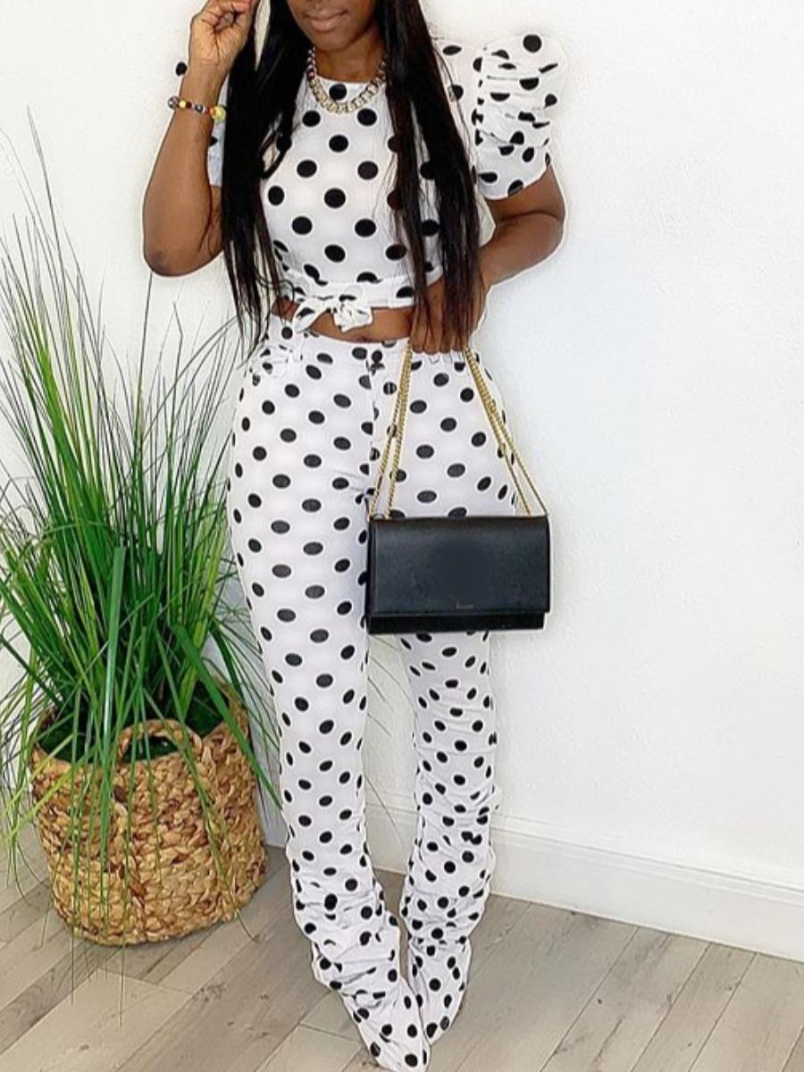 Two-piece Pants Set lovely Sportswear O Neck Dot Print White Two Piece Pants Set фото