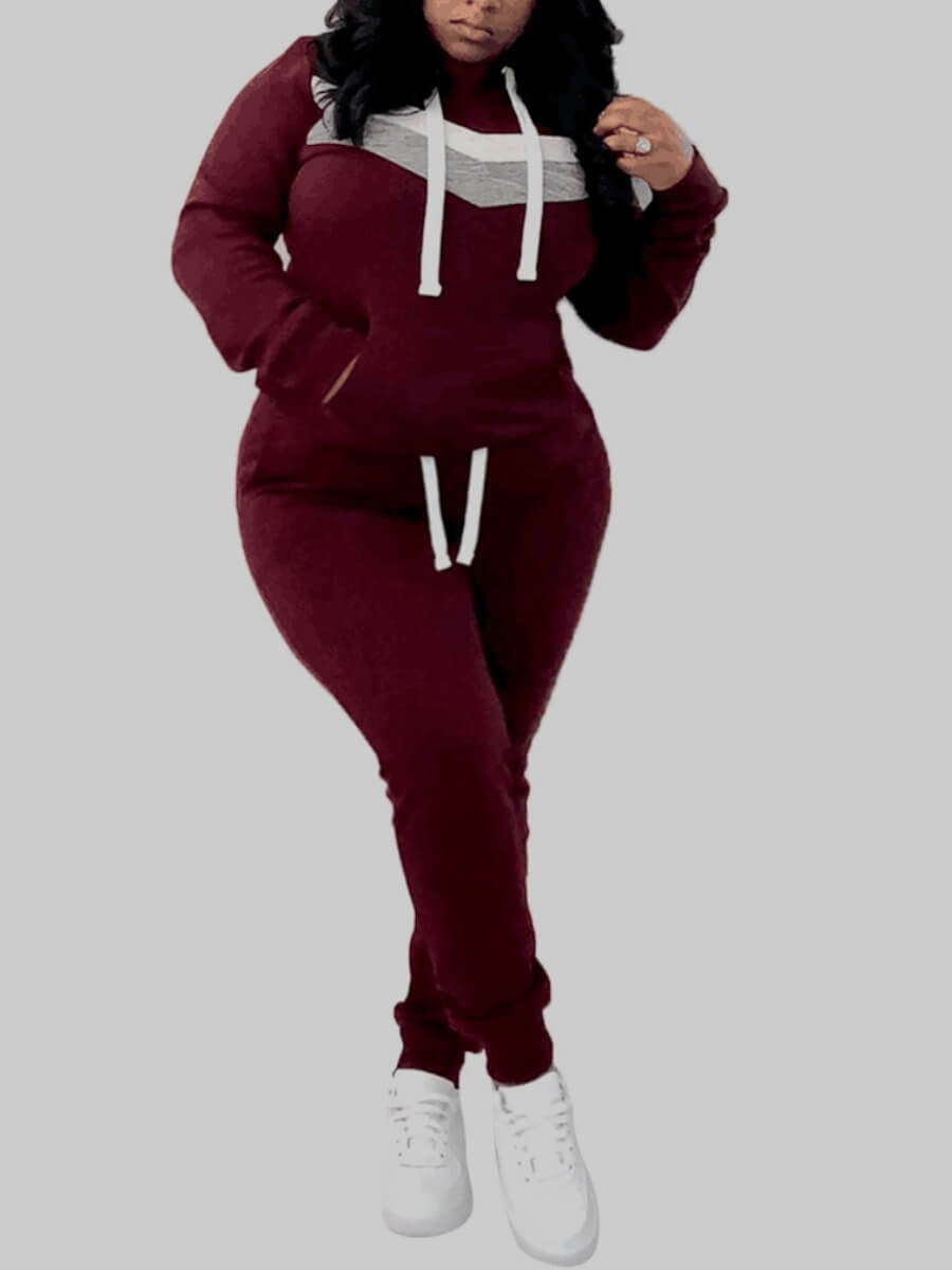 Lovely Sportswear Hooded Collar Patchwork Wine Red Plus Size Two-piece Pants Set фото