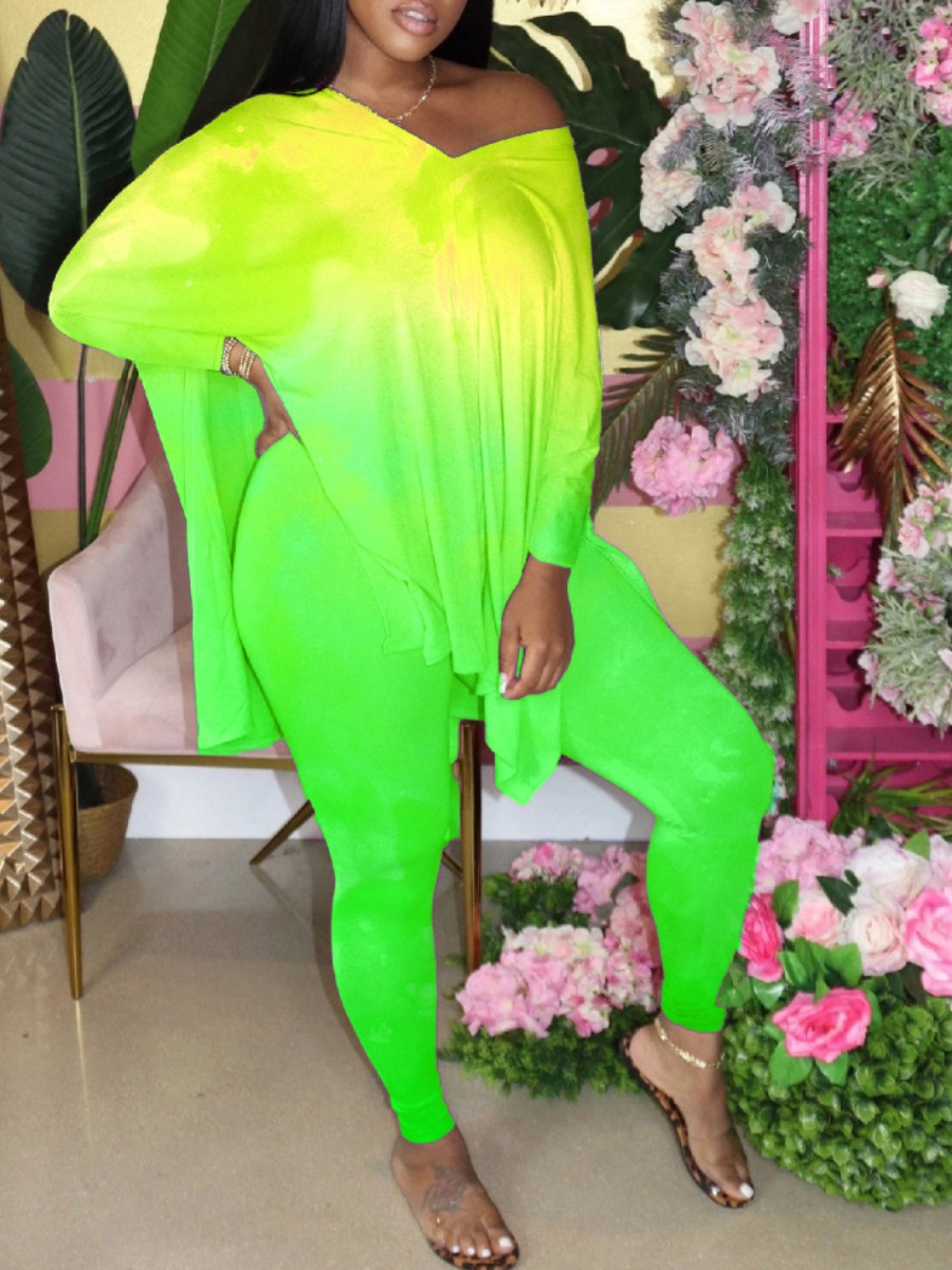 Two-piece Pants Set Lovely Street V Neck Gradient Side Slit Green Two Piece Pants Set фото