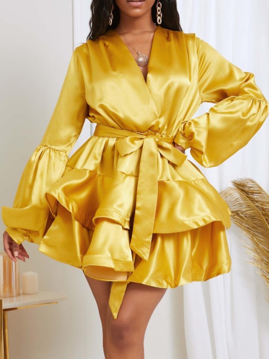 Lovely Sweet V Neck Layered Cascading Ruffle Gold Mini Dress фото
