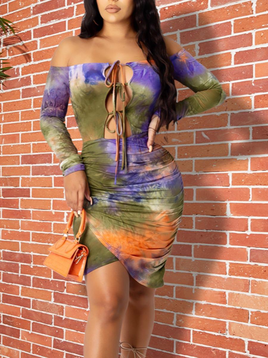 Lovely Trendy Dew Shoulder Tie-dye Army GreenMini Dress фото