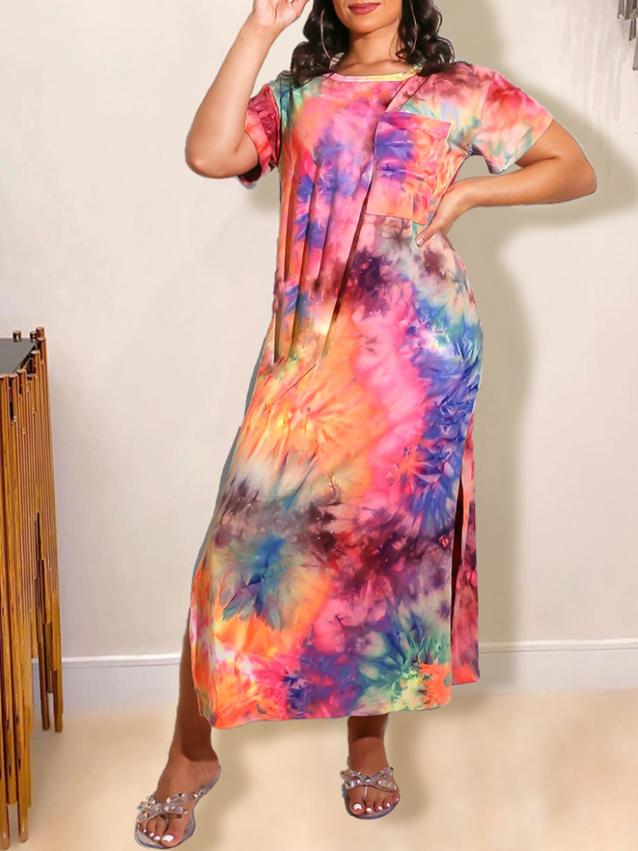 Daily Dress lovely Casual O Neck Tie-dye Rose Red Ankle Length Dress фото