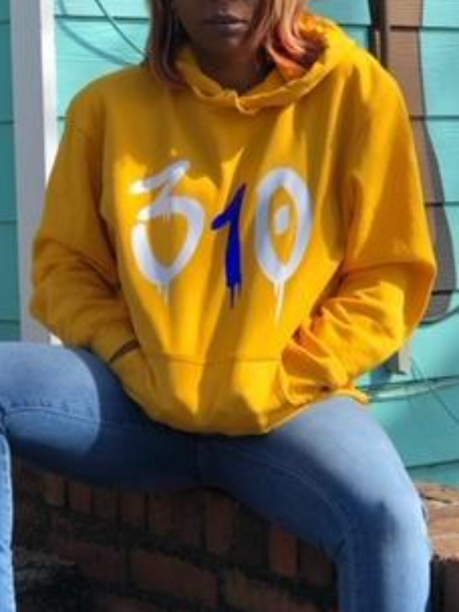Hoodies lovely Sportswear Hooded Collar Print Yellow Hoodie фото
