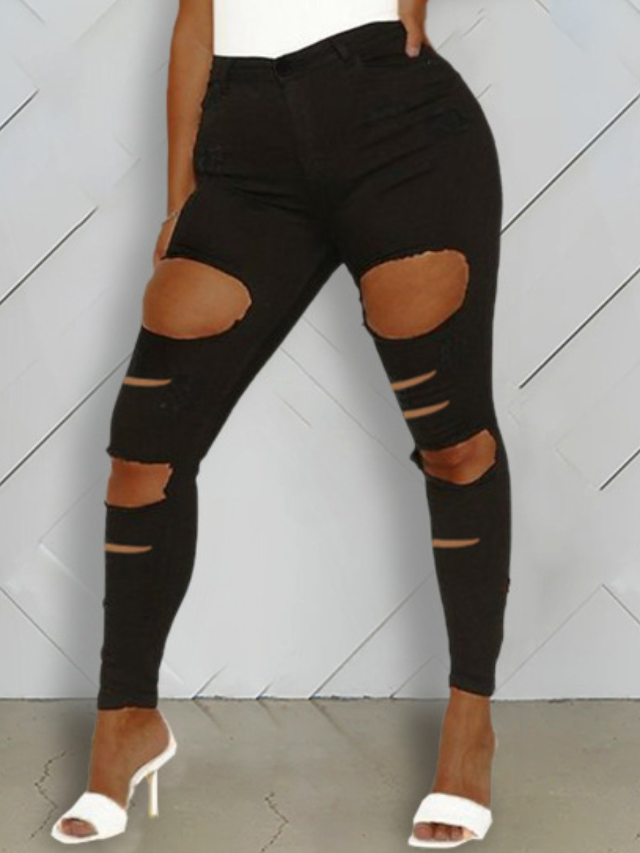 Lovely Street Hollow-out Black Jeans фото