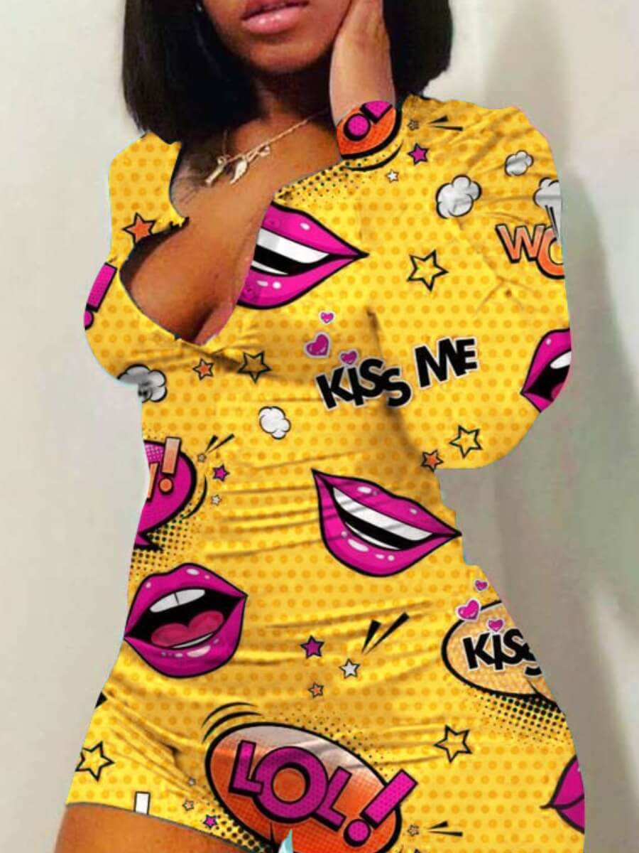 Lovelywholesale coupon: Lovely Leisure Lip Print Yellow One-piece Romper