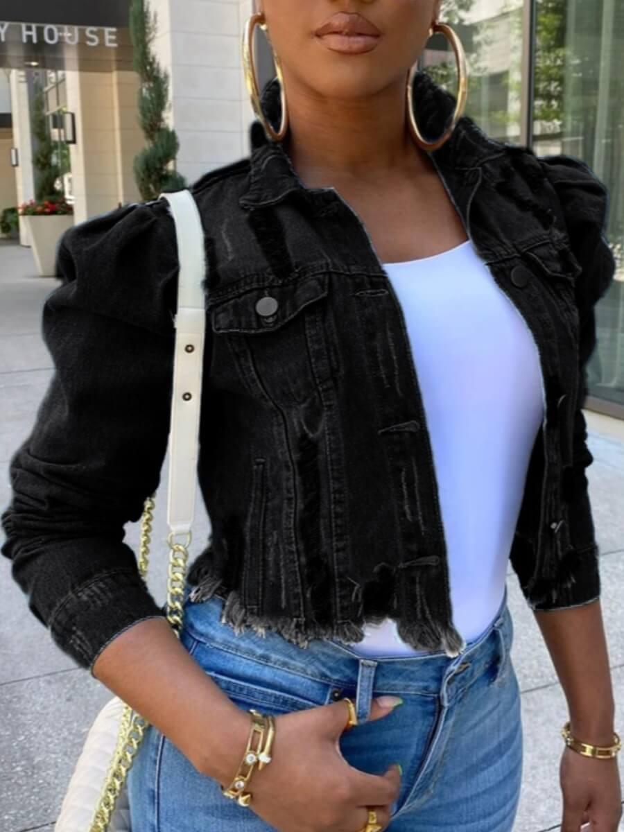 Lovely Street Turndown Collar Buttons Design Black Denim Jacket фото