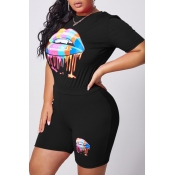 lovely Casual O Neck Lip Print Black Plus Size Two