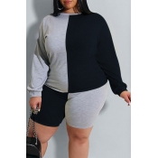 lovely Casual O Neck Patchwork Black Plus Size Two