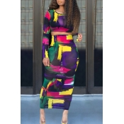 lovely Trendy O Neck Print Multicolor Two Piece Sk