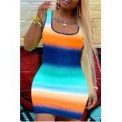 Lovely Stylish U Neck Striped Multicolor Mini Dress