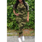 lovely Casual O Neck Camo Print Army Green Mid Cal