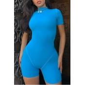 lovely Sportswear Skinny Blue One-piece Romper
