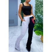 lovely Street Letter Patchwork Black Two Piece Pan