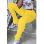 lovely Casual Skinny Yellow Leggings