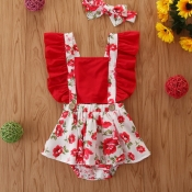 lovely Stylish Print Red Girl One-piece Romper