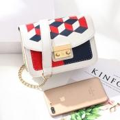 lovely Trendy Patchwork White Crossbody Bag