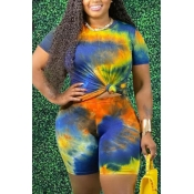 lovely Leisure O Neck Tie Dye Blue Two Piece Shorts Set