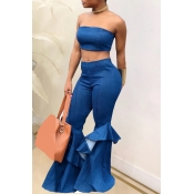 lovely Stylish Flounce Design Flared Blue Denim Tw