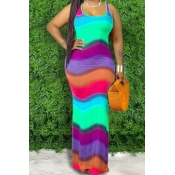 lovely Bohemian Rainbow Striped Purple Maxi Dress