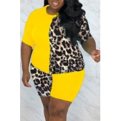 lovely Casual Patchwork Print Yellow Plus Size Two