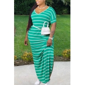 lovely Leisure V Neck Striped Green Maxi Plus Size