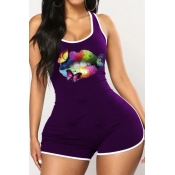 lovely Sportswear Lip Print Purple Plus Size One-p
