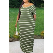 Lovely Leisure V Neck Striped Army Green Maxi Plus