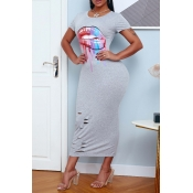 lovely Casual Lip Print Grey Ankle Length Dress