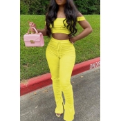 lovely Casual Dew Shoulder Yellow Two-piece Pants Set
