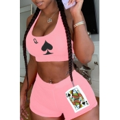 lovely Sportswear U Neck Print Pink Two Piece Shor