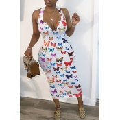 lovely Trendy Butterfly Print White Mid CalfDress