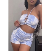 lovely Sexy Tie Dye Skyblue Two Piece Shorts Set