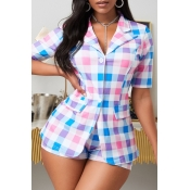lovely Trendy Grid Print Multicolor Two Piece Shorts Set