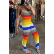 Lovely Trendy Striped Multicolor Plus Size One-pie