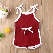 lovely Sportswear Lace-up Wine Red Girl One-piece Romper