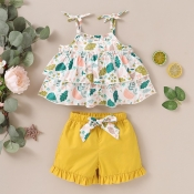 lovely Sweet Plants Print Yellow Girl Two-piece Sh