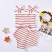 lovely Sweet Striped Pink Girl Two-piece Shorts Se