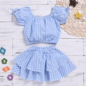 lovely Sweet Grid Print Baby Blue Girl Two-piece S