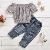 lovely Casual Striped Blue Girl Two-piece Pants Se