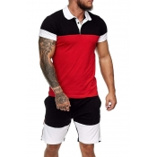 lovely Casual O Neck Patchwork Red Two-piece Short