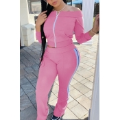 lovely Sportswear Patchwork Pink Two-piece Pants S