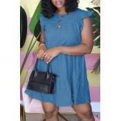 lovely Sweet O Neck Fold Design Blue Knee Length D