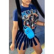 lovely Casual O Neck Print Zipper tassel design Blue Mini Dress