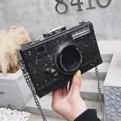 lovely Chic Camera Black Crossbody Bag