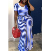 lovely Street Striped Blue Plus Size Two-piece Pan