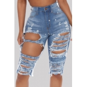 Lovely Street Hollow-out Blue Denim Shorts